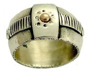 Silver wedding band, men Band, boho ring, mixed metals band, wide silver ring, unique silver ring, hippie ring, rustic band - Fiction R1384C