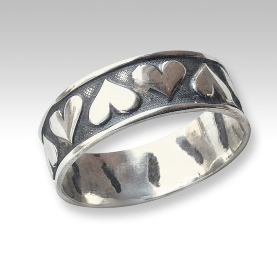 Sterling Silver band, promise band, Love ring, hearts band, stack ring, valentines ring, hearts ring, wedding band - Love Is Blindness R2229