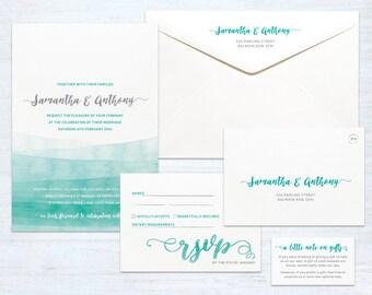 Printed Wedding Invitation Set – Watercolour – Australia
