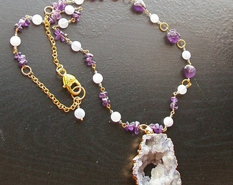 Lavender Druzy with Amethyst and Jade Necklace-Lavender Fields-Gold Mid Length Asymmetrical Necklace, Purple Gemstone Jewelry