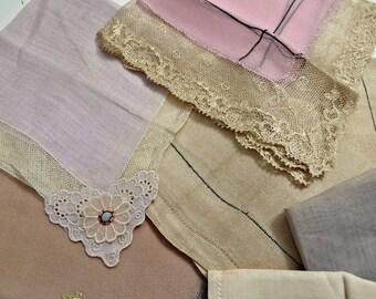 Lot of 7 Antique Hankies Handkerchiefs Lace-Trimmed Assorted Art Deco Men's Women's