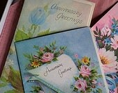 Vintage Anniversary Cards, Like New, Mixed Lot, Unwritten, with Envelopes, 7 pc.