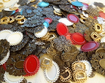 Vintage Jewelry Destash. 1.5 lbs  All Settings Flower Oval Filigree Wraps Clasps, White Red Blue  Findings Destash Lot 18