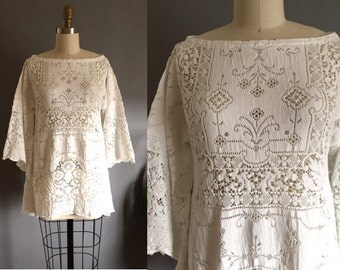 Lovely vintage 40s mts 20s mts 70s CHRISTMAS White Supple Lace Boho Hippie Top Blouse Shirt Tunic