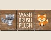 Bathroom Decor, Kids Bathroom Art, Woodland Animals, Rustic Bathroom Art, Wash, Brush, Flush, Fox, Raccoon, Set of 3, Prints or Canvas