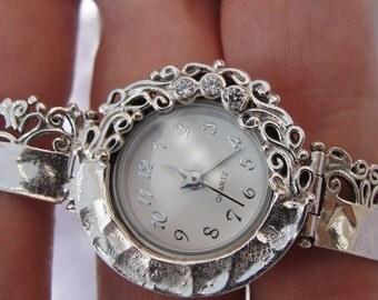 NEW 925 Silver Bracelet Watch, Original Handmade Fine Silver CZ Bracelet Watch, Jewelry Watch, Israel Jewelry (s w224)