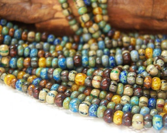 6/0 Czech aged seed bead mix,Caribbean blue striped Picasso beads, lot of (20)  inch strand-  VK275