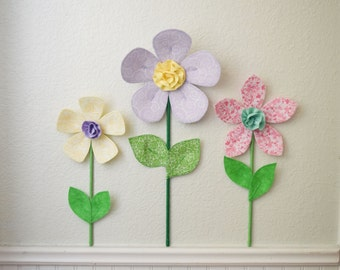 floral decor, 3d flower wall decor. girls room wall decal. pink fabric flower. baby shower gift. spring garden. wall mural