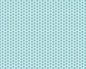 SALE 1 YARD Aqua Honeycomb Dot