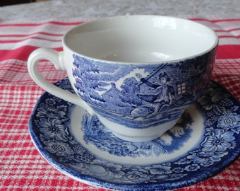 Vintage LIBERTY BLUE Cup and Saucer Fourth of July
