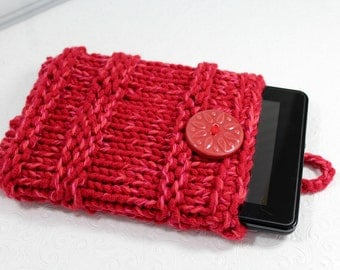 Cherry Red Chunky Knit IPad Mini Sleeve, Knit Kindle Fire Case, Red Knit Notebook Sleeve, Knit Sleeve, Red Knit Ipad Mini, Knit Tablet Case