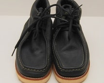 SALE vintage mens Chippewa black leather mocc-toe wedge work boots