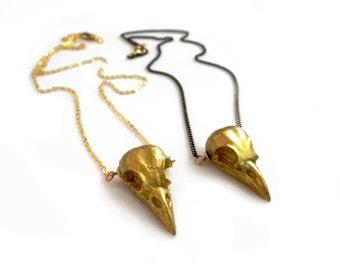 Bird Skull Necklace, Gold Raven Skull Necklace, Unisex Skull Necklace,