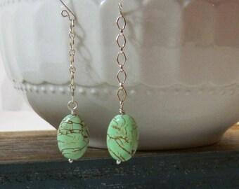 Green Turquoise Earrings, sterling silver earrings, Wire Wrapped Earrings, Handmade, Long earrings
