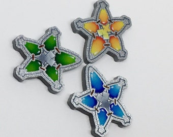 Kingdom Hearts Wayfinder Star Aqua, Terra, Ventus Silver Acrylic Lapel Pin Pinback Birth By Sleep