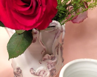 Three Graces 3 v.3 Porcelain Sculptural Matte White Pink Whimsical Boho Decor