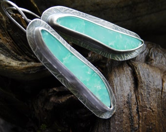 Reserved for SuzyStones 2nd pmt Green Tanzanian Chrysoprase  and Sterling Silver Dangle Earrings