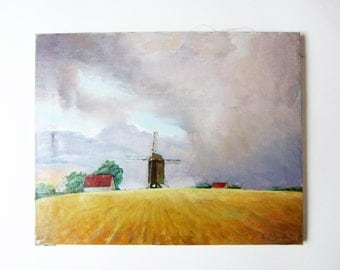OIL PAINTING on canvas⎮French Flanders landscape⎮signed E. Blondeel 90⎮windmill field clouds⎮French decor touch⎮rustic country chic
