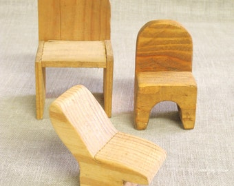 Primitive Doll Chairs, Miniature Chairs, Dollhouse Furniture, Seating, Folk Art, Primitive Toys, Handmade, Tramp Art, Furniture, Miniature