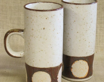 Coffee Cups , Stoneware , Tea Cups , Mugs , Mid-Century , Modern , Tall , Beverage Cup , Serving Cup , Set , Pair , Cups , Drinking Cup ,Cup