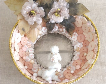 Mirror , Wall Mirror , Small Mirror , Poodle , Handmade , Lipstick Mirror , Hall Mirror , Glam Mirror , Folk Art , Wil Shepherd Studio