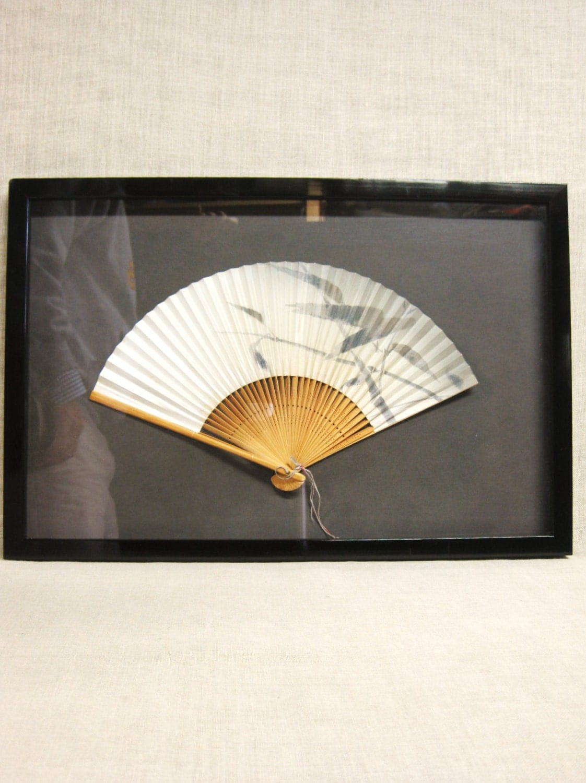 Vintage framed asian fan hand fan wall decor shadow box - Wall fans decorative ...