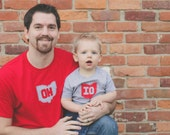 Daddy and Me OH-IO t-shirt set, Father-Son T-Shirt Set, great gift for father's day or any new dad