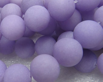 Jade Beads 12mm Lilac Purple Sandblasted Matte Candy Smooth Rounds -  8 inch Strand