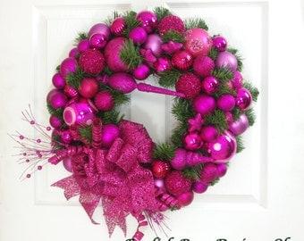 Hot Pink Wreath, Christmas Wreath, Hot Pink Ornament Wreath, Christmas Decor, Holiday Decor, Holiday Wreath