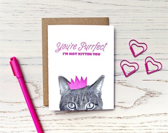 gee whiskers series: you're purrfect letterpress greeting card