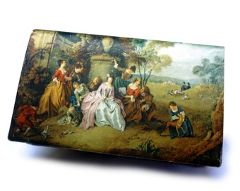 1950s 18th Century Colored Satin Tableau on Black Faille Woman's Picture Silk Wallet with Snap Change Purse Made in Italy for Tano