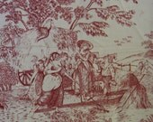 """French Toille Fabric,Colonial Tradition by RJR Fashion Fabrics, Red on White Heavy Cotton, 45"""" x 1 + YD"""