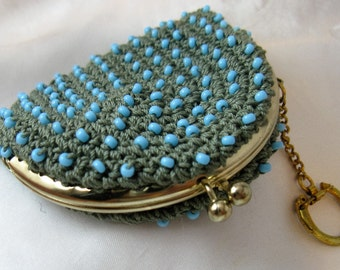 Vintage 1960s Beaded Coin Purse Key Chain, Blue on Sage, Goldtone Frame, Kisslock Top