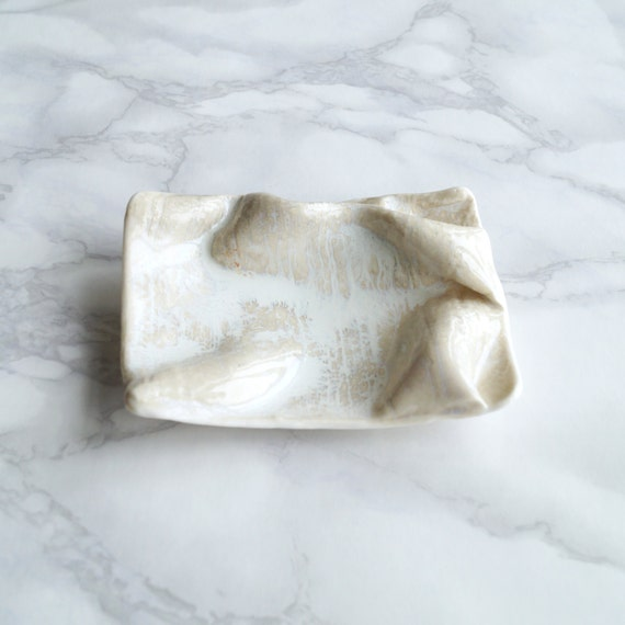 Soap dish GATHERED linen with button feet porcelain bathroom bowl natural soft white glaze