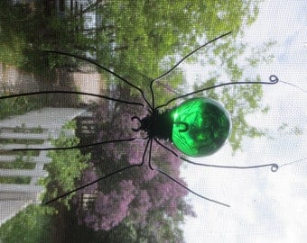 Wonderful  Green Sun Catcher Window Spider Hanging Art, Made to Order