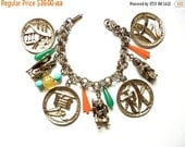 50% OFF Unique Asian Theme 4 Seasons Charm Bracelet in Gold Tone
