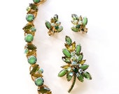 50% OFF Verified D & E Juliana Bracelet Pin Earrings Jade, Olive and Emerald Green Stones