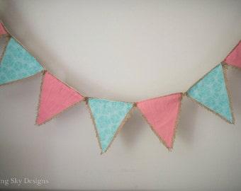 Teal & Pink Banner, Burlap Banner, Bedroom Decor