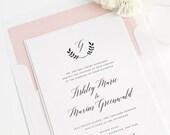 Wreath Monogram Wedding Invitations - Olive Branches - Monogram - Blush Pink Wedding Invitations - Calligraphy Wedding Invites - Deposit