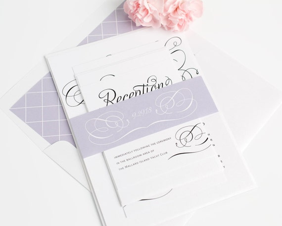 Charming Script Wedding Invitations - Romantic Wedding Invitation - Purple, Lavender Wedding Invite - Whimsical, Fairytale - Sample Set