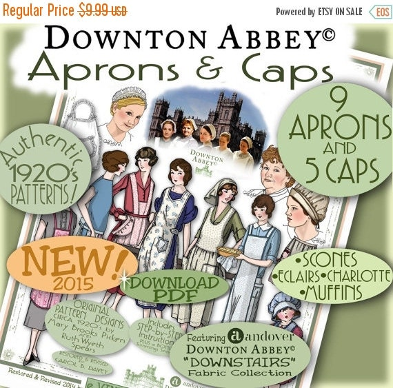 Old Fashioned Aprons & Patterns 1920s APRON Downton Abbey Patterns Pdf Booklet for Andovers DA Fabric Line Pdf version Authentic 1920s Pattern Booklet DOWNLOAD $8.49 AT vintagedancer.com
