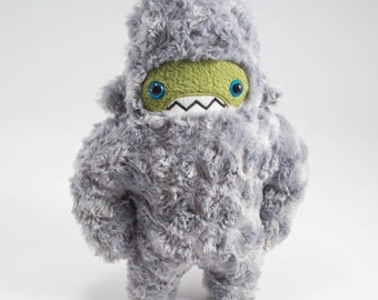 Woolly Yeti Handamde Plush...Custom monster stuffed animal...Silver grey fur