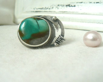Oxidized Sterling Silver Ring with freeform Turquoise Gemstone - Jewelry 925 - Size 7