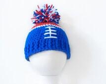 Buffalo Bills Baby Cap, Baby Hat, Giants Hat, NY Giants Football Hat, Giants/Bills Colors Hat, Crochet Hat - Ready to Ship (3 to 6 mos)