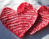 Pot Holders ~ Crochet Red Hearts ~ Unique hostess gift, housewarming present for newlywed, Bridal Shower, Valentine Gift Basket, Mom Present