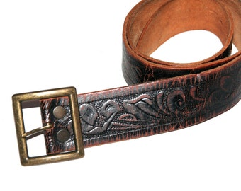 """Gorgeous Vintage Brown Leather Tooled Belt- Size 30""""-34"""""""