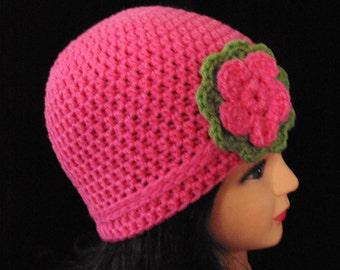 Pink Hat, Crochet Beanie, Crochet Pink Hat, Flower Hat, Summer Hat, Spring Hat, Fall Hat, Womans Hat, Teen Hat
