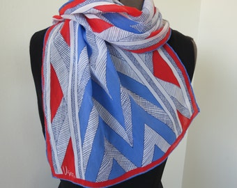 "1960s Red White Blue Chevron Sheer Scarf by VERA Neumann - 45"" x 15"" Silk Blend"