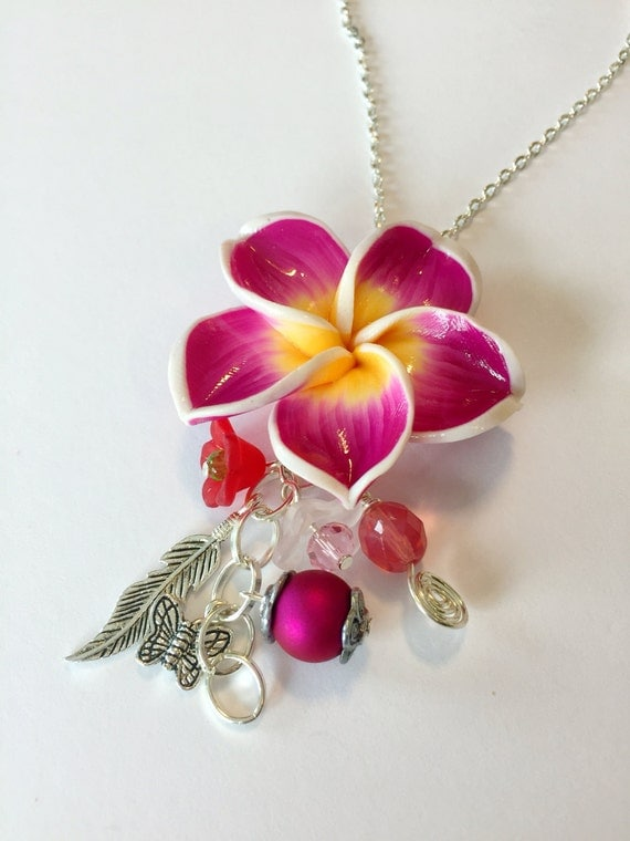 Lei - Gorgeous Handmade Fimo Clay Pendant Necklace With Charms