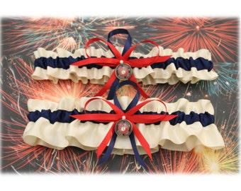 Ivory and Navy Blue Wedding Garter Set with U.S. Marine Corps Theme (Your Choice: Single or Set)